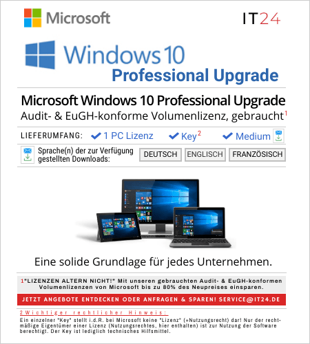 Microsoft Windows 10 Professional Upgrade Volumenlizenz, gebraucht
