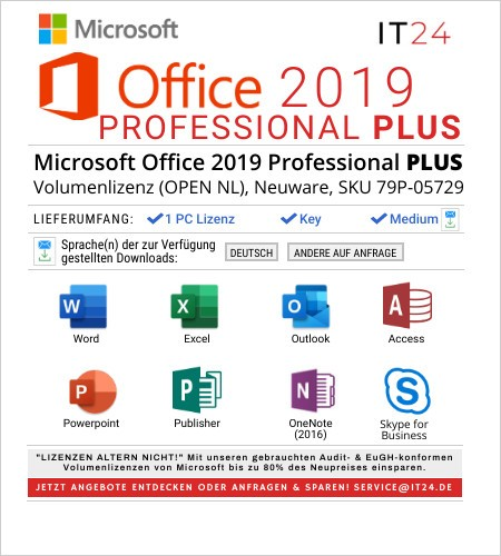 Microsoft Office 2019 Professional Plus, Volumenlizenz, Neuware